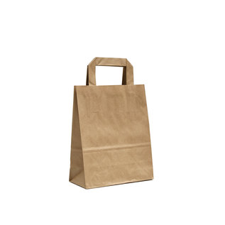 claerpack PHV Sacs cabas en kraft brun  à poignées plates 18 x 8 x 22 cm 500 sacs