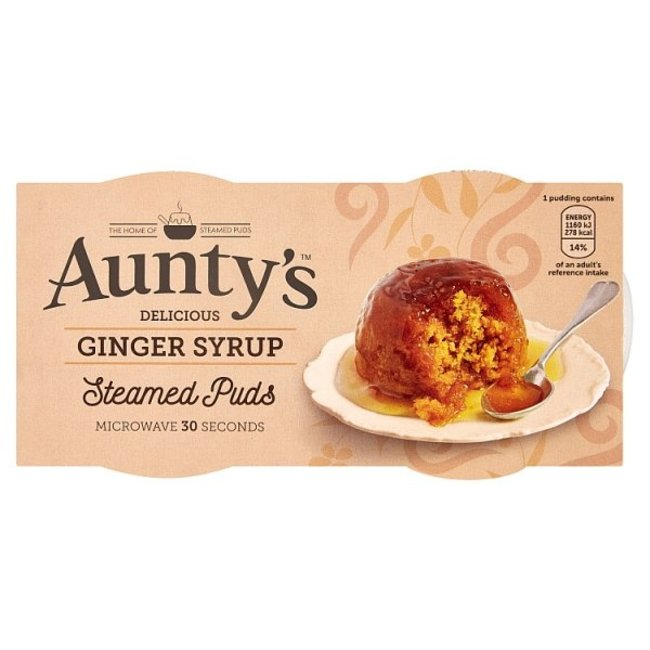 Auntys Steamed Ginger Syrup Puddings 2x100g