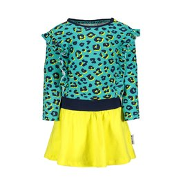 B-Nosy jurk met luipaard print top en verticale franje
