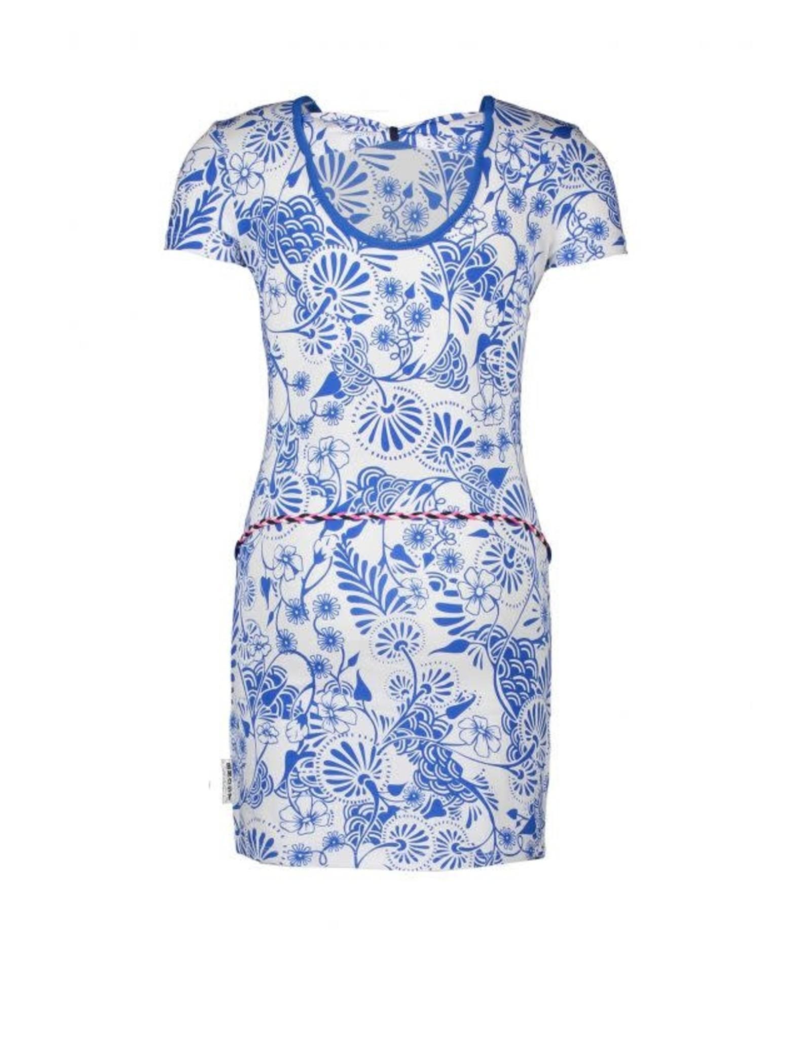B-Nosy jurk delfts blauw met strik detail in de nek