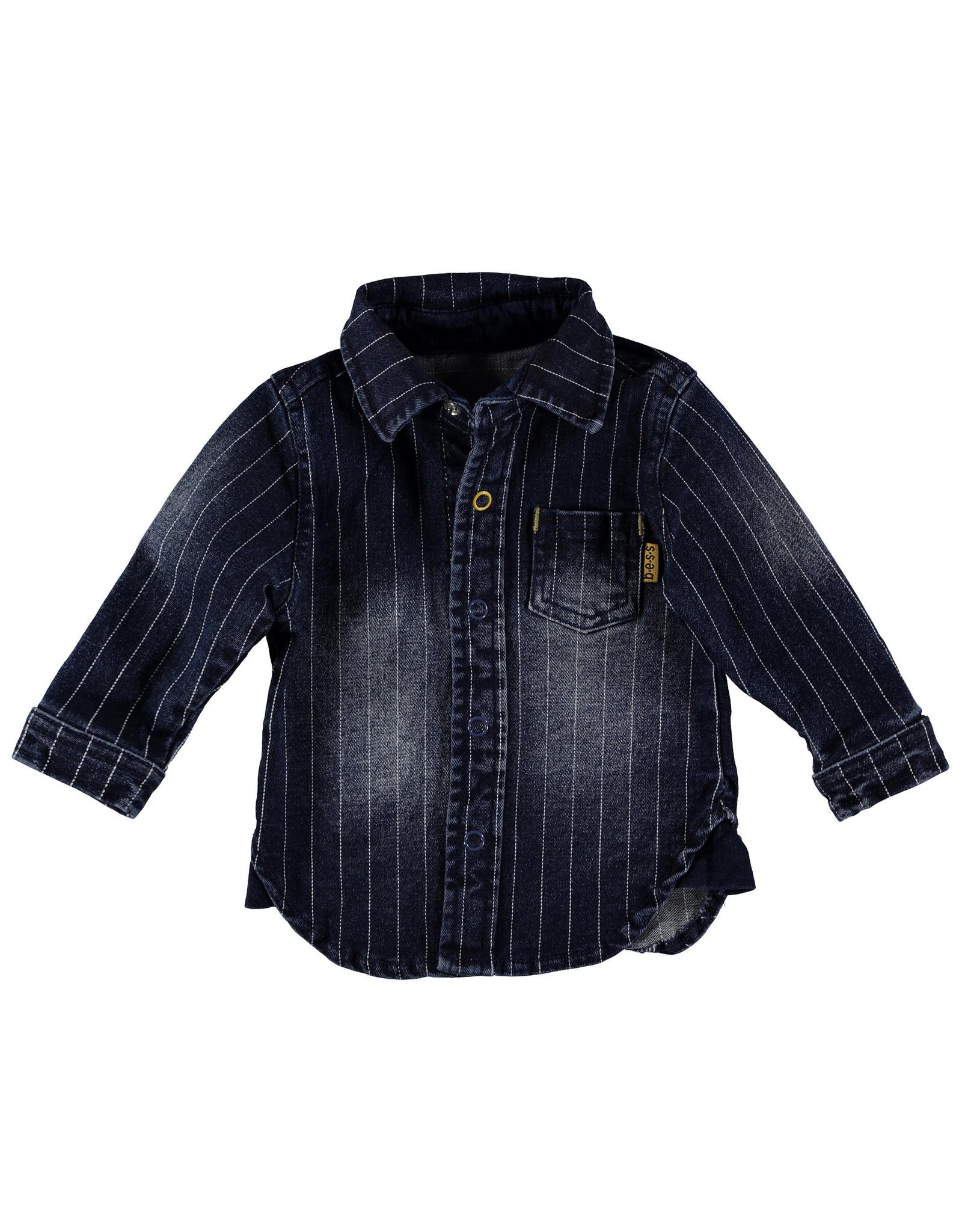 B.E.S.S blouse denim gestreept