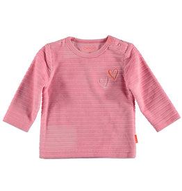 B.E.S.S shirt met lange mouwen velvet getsreept
