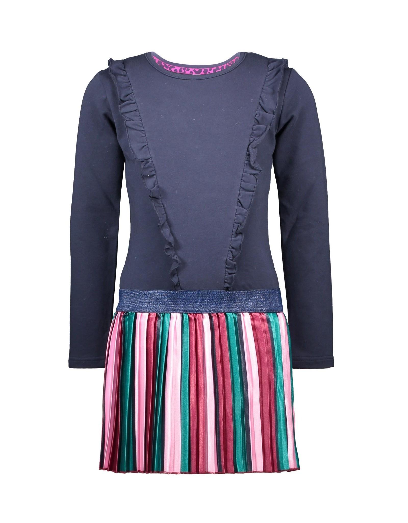 B-Nosy jurk met satijnen rok en ritssluiting