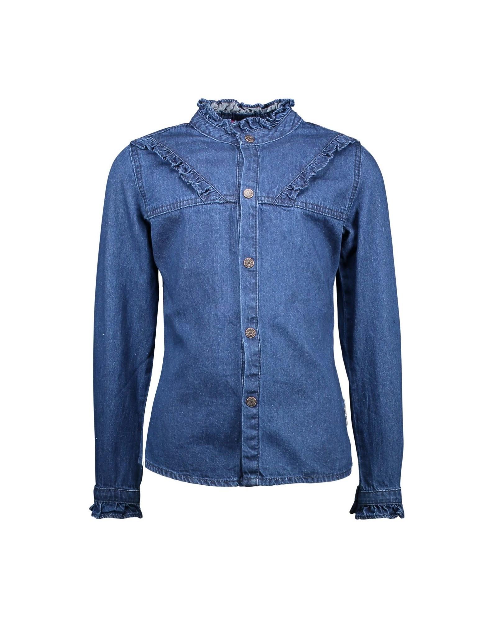 denim blouse met ruffles