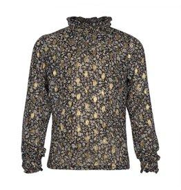 Kie-stone top gold black flower