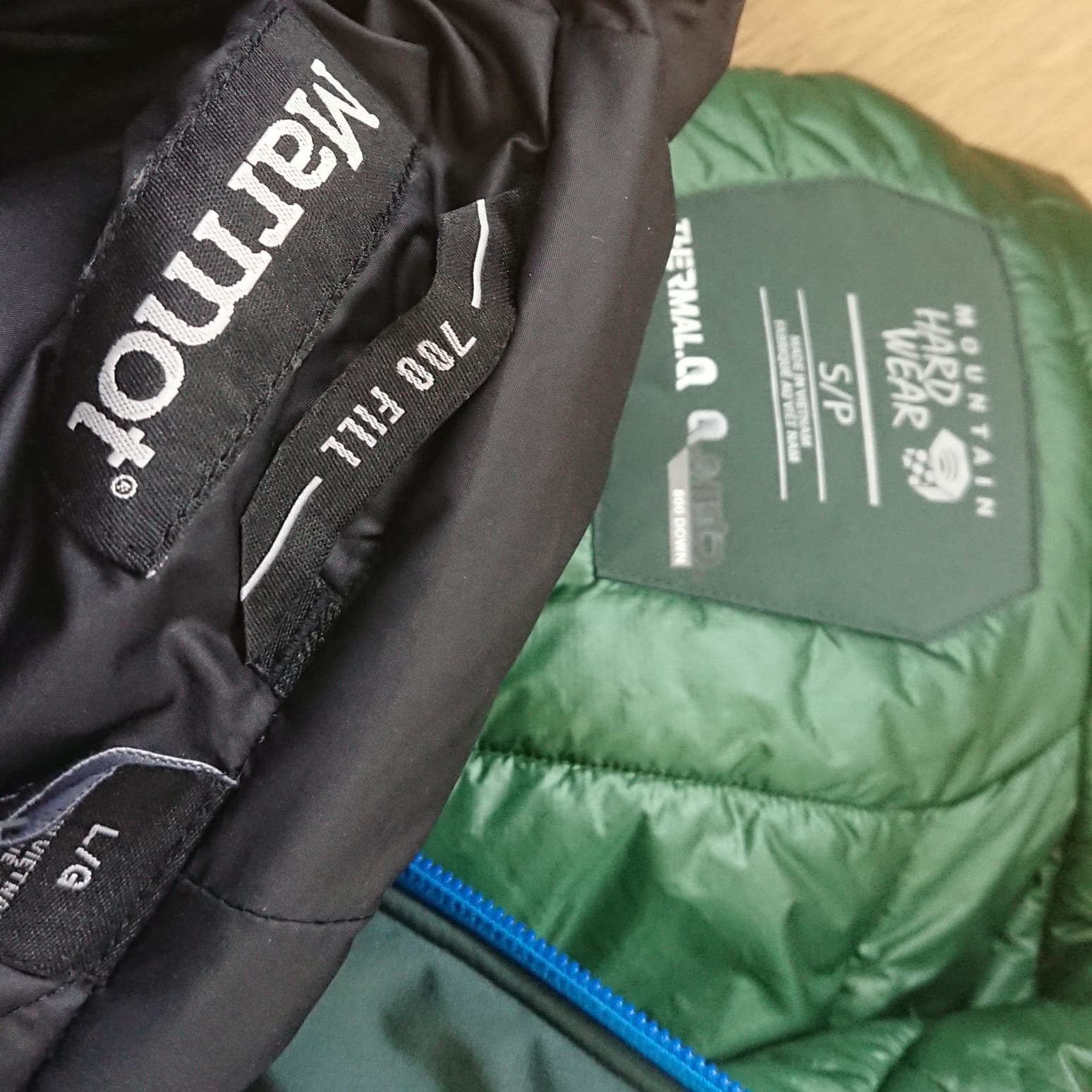 Comparing down jackets