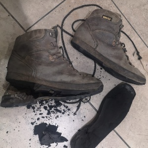 Adhesive gone on these old boots