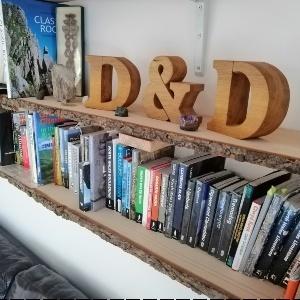 Raw Wood Bookshelves for Guidebooks