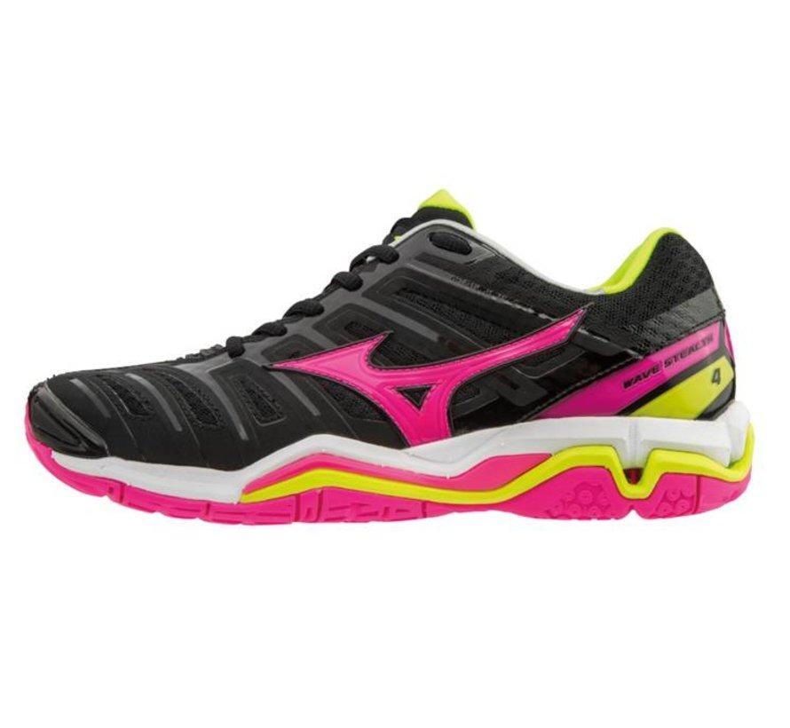 Mizuno Wave Stealth 4 zwart roze handbalschoenen dames