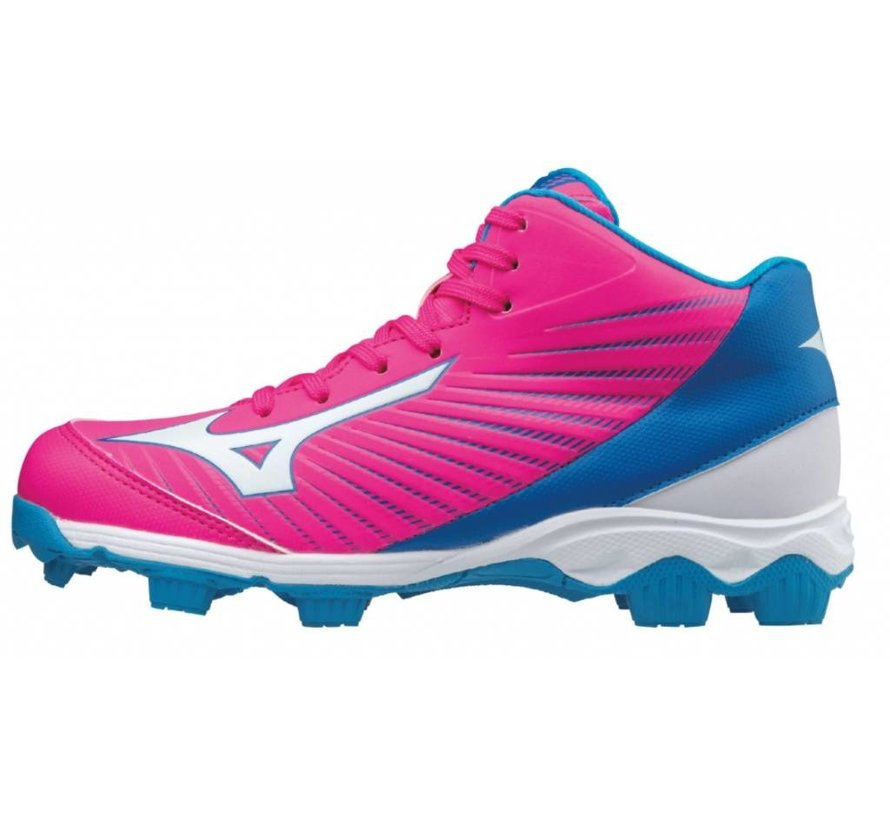 Mizuno 9-Spike Advance Franchise 9 Mid roze outdoor korfbalschoenen meisjes