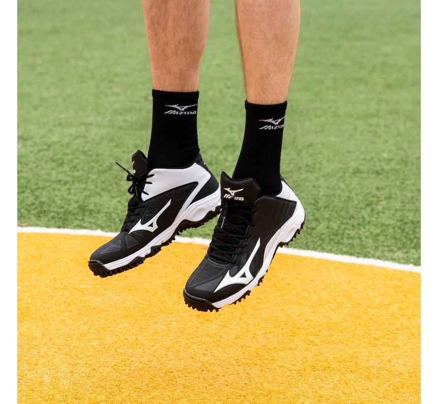 Mizuno 9-Spike Adv Erupt 3 mid zwart wit outdoor korfbalschoenen uni