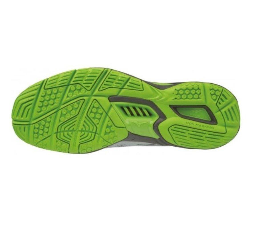 Mizuno Wave Stealth V wit groen handbalschoenen uni