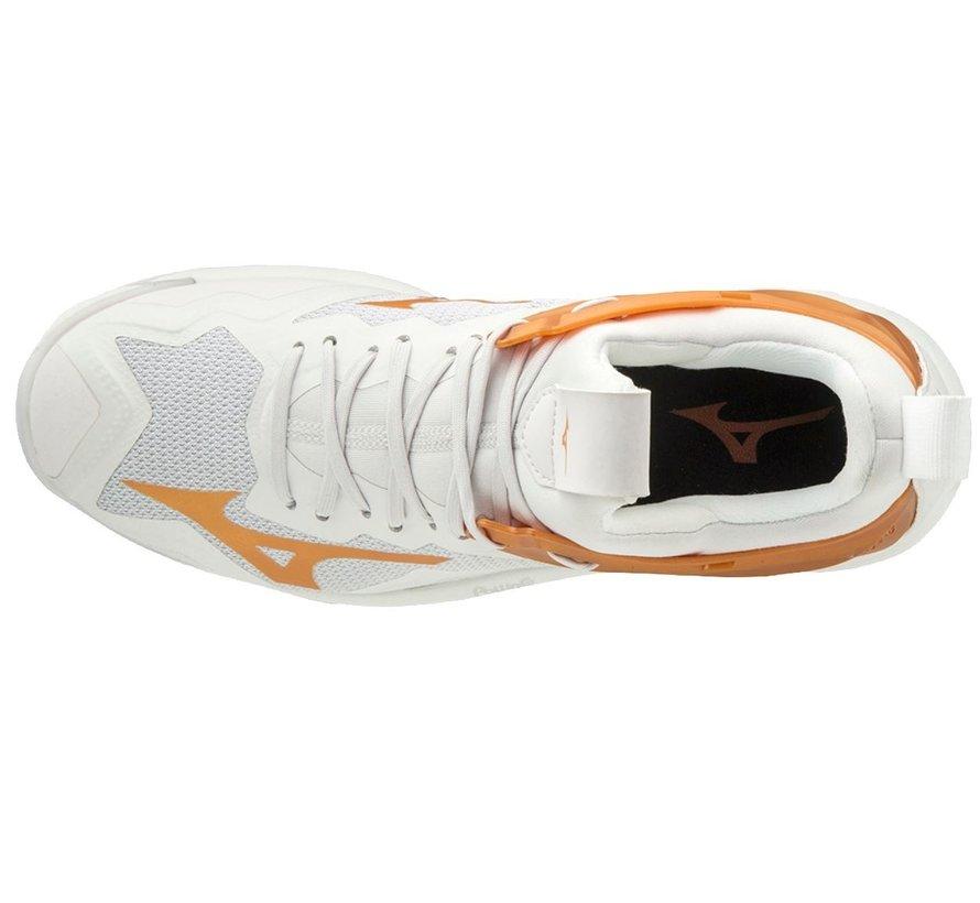 Mizuno Wave Mirage 3 wit oranje handbalschoenen dames