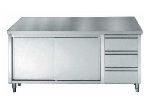 Combisteel Armoire| en Acier Inoxydable | avec Tiroirs | 160x70x85 (H) cm