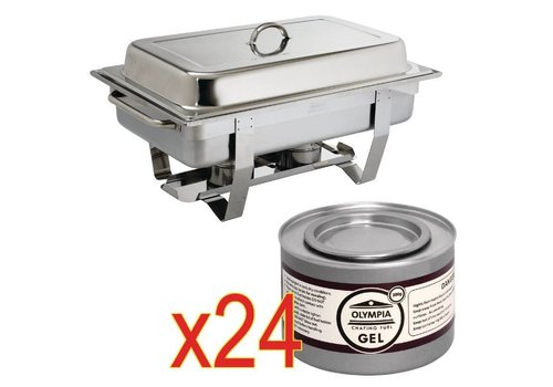 Olympia Chafing Dish 1/1 GN avec 24 canettes de pâte combustible