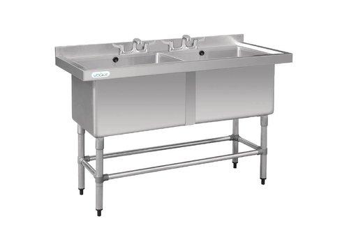 Vogue Table d'évier en acier inoxydable Double évier 141x60x90 cm