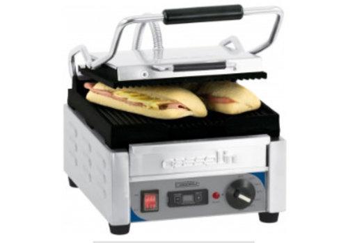 Casselin Grill panini petit premium rainurée - rainurée avec minuteur | L 300 x P 490 x H 265 mm | de 60°C à 300°C | 2 000 W
