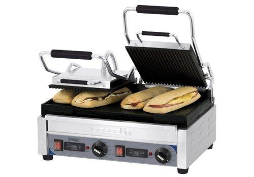 Casselin Grill panini double premium rainurée - lisse avec minuteur   L 490 x P 520 x H 265 mm   2 900 W   de 60°C à 300°C