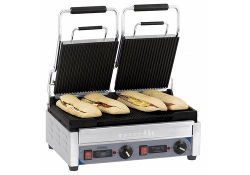 Casselin Grill panini double premium rainurée - rainurée avec minuteur   L 490 x P 520 x H 265 mm   de 60°C à 300°C   2 900 W