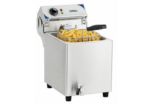 Casselin Friteuse électrique avec vanne de vidange 7 litres | L 275 x P 518 x H 455 mm | 2800 W | de 60°C à 200°C