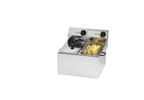 Saro Saro Friteuse 2x4 Litres | L 355 x P 410 x H 340 mm | 2 x 2 kW | jusqu'à 190 ° C