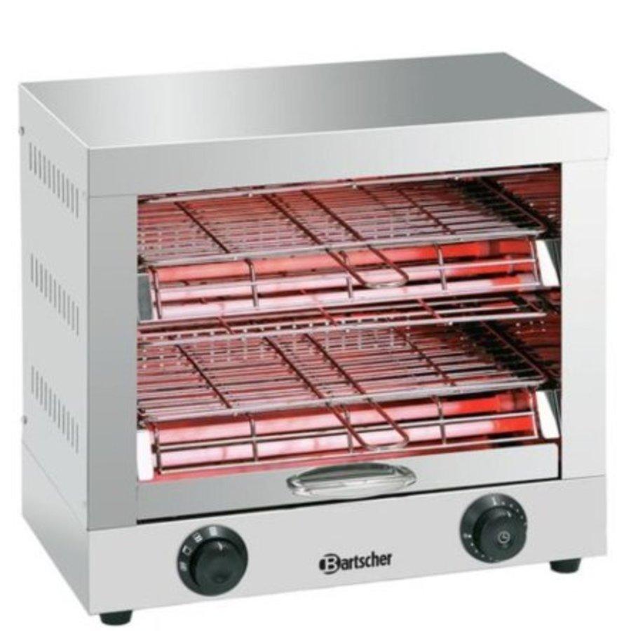 Appareil toaster/gratiner, double | 3 kW | 440 x 260 x 400 mm | Acier inoxydable