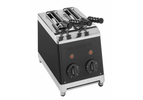Milan Toast  Milan Toast Tosti fabricant avec 2 tranches noir | 18.5x30x30 cm | 1,3 kW