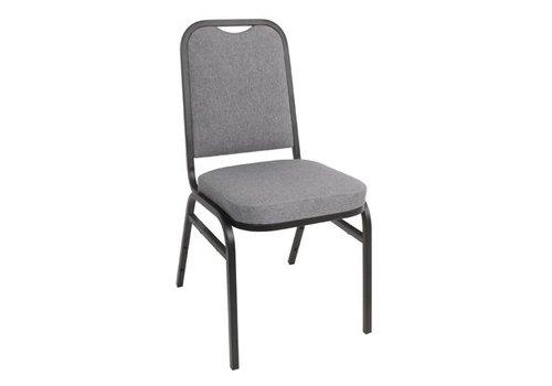 Bolero Chaise de banquet | dossier carré |t tissu gris | lot de 4 |