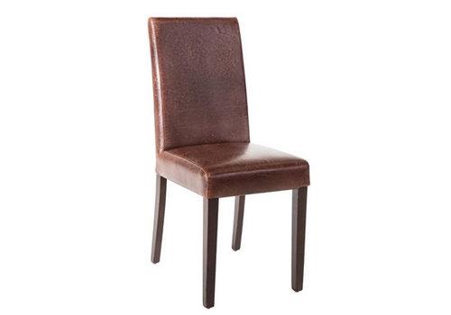 Bolero Chaise dossier haut en simili cuir marron foncé patiné x2