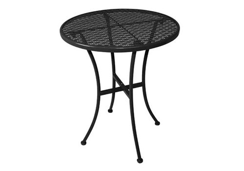 Bolero Table bistro ronde en acier ajouré noire 600mm