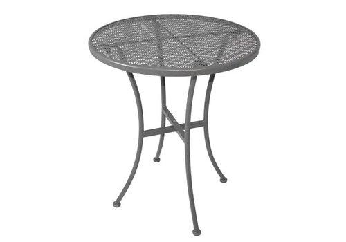 Bolero Table bistro ronde en acier ajouré grise 600mm