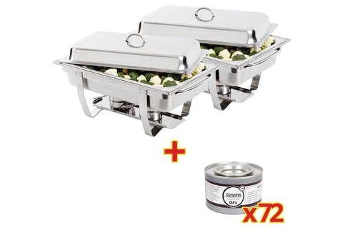 Olympia OFFRE SPÉCIALE Lot de 2 chafing dish Milan + 72 capsules de gel combustible Olympia