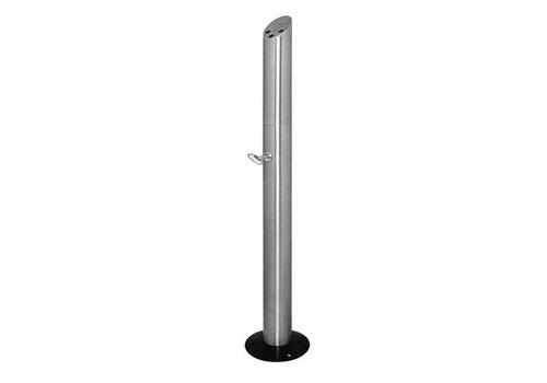 Bolero Cendrier poteau fixable au sol | Acier inoxydable | 920 x 75 mm