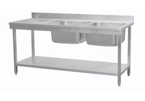 Combisteel Plonge avec étagère 2 éviers à droite | 180x70x85 cm