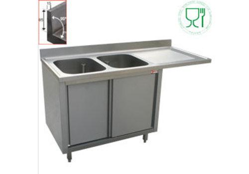 Diamond Plonge 2 cuves 400x500x275 égouttoir droit sur armoire 2 portes coulissantes et espace lave vaisselle
