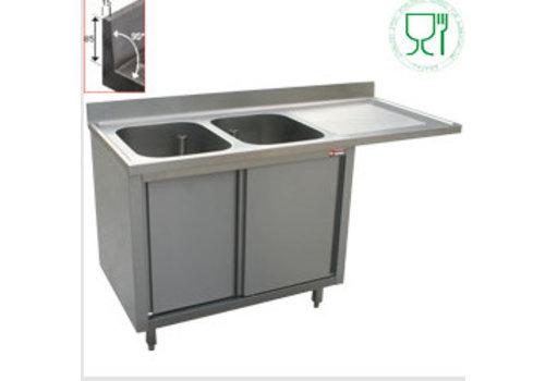 Diamond Plonge 2 cuves 500x500x325 égouttoir droit sur armoire 2 portes coulissantes et espace lave vaisselle