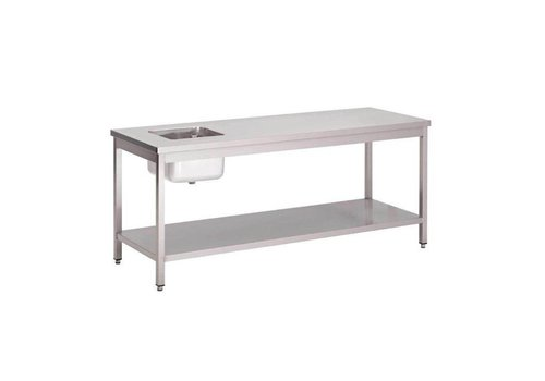 Gastro-M Table inox | étagère basse | évier inox | 1200 x 700 x 850mm