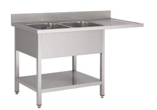 Gastro-M Table de rinçage | inox | Lave-vaisselle |160 (L) x 70 (P) x 85 (H) cm