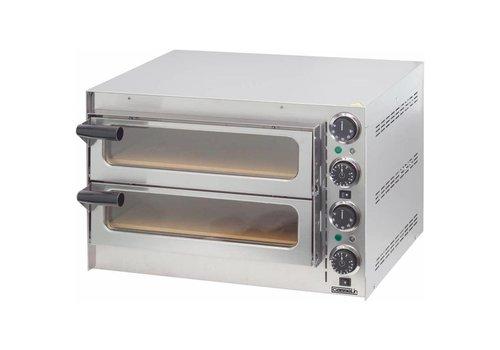 Casselin Four à pizza 2 chambres | L 550 x P 430 x H 379 mm | 50° C à 300° C | 2 700 W | 27,7 Kg