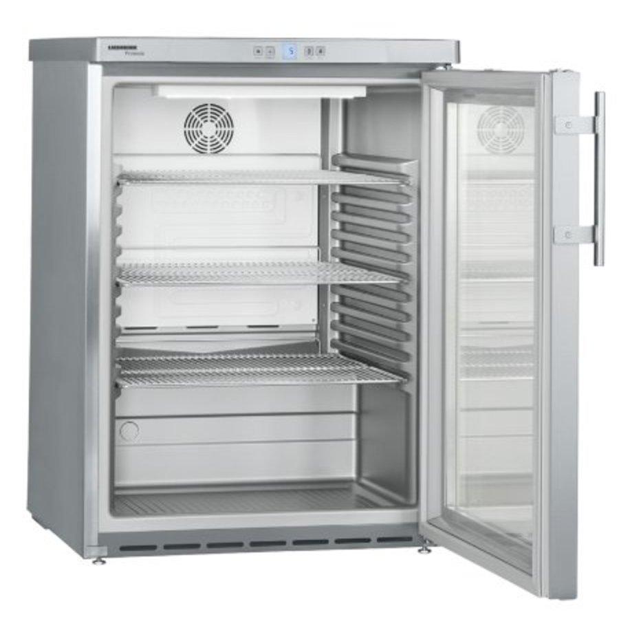 1663 FKUv réfrigérateur pour l'evier sous plan en acier inoxydable | Porte en verre