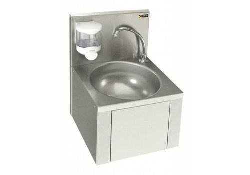 Sofinor Lavabo en inox avec genouillère et robinet et distributeur de savon