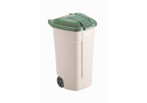 Rubbermaid Poubelle à roues Couvercle vert   100 litres