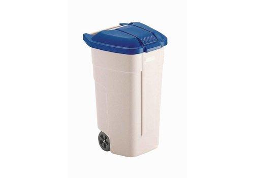 Rubbermaid Poubelle à roues Couvercle bleu   100 litres