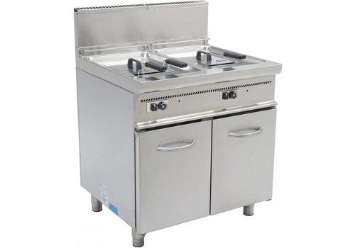Saro Friteuse à gaz avec support 2 x 17 litres   L 800 x P 700 x H 850 mm   33 kW   jusqu'à 190 ° C