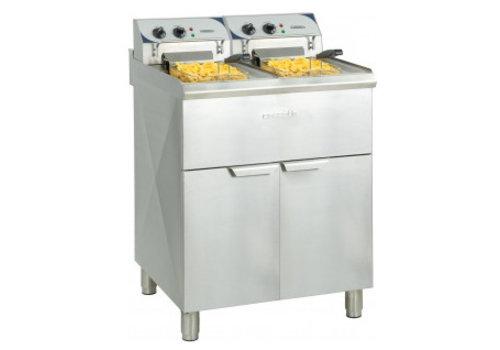 Casselin Friteuse électrique sur pieds 2 x 10 litres haut rendement | 60°C à 200°C | L 660 x P 700 x H 1080 mm | 2 x 9 000 W