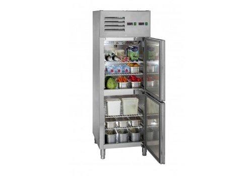 Saro Réfrigérateur-congélateur professionnel | inox | Porte à fermeture automatique | 68x83x201 cm