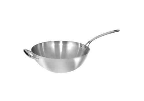 Vogue Poêle à wok en acier inoxydable | 30,5 cm Ø
