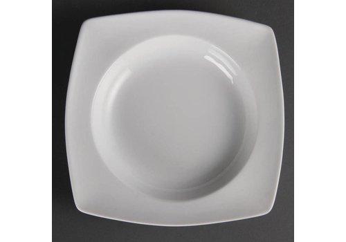 Olympia Assiettes creuses en porcelaine carrées 21 cm (4 pièces)