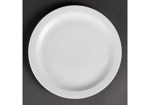 Olympia Assiette en porcelaine blanche bord étroit 28 cm (6 pièces)