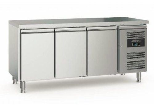 Ecofrost Etabli de réfrigération | 3 portes | Acier inoxydable | 417L